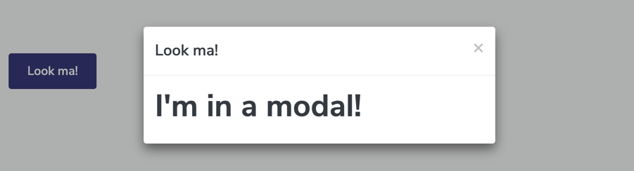 Modal pop-up generated by our code